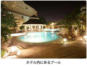 ホテル内にあるプール